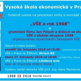 """Plánovaná prezentace knihy a vernisáž výstavy """"Vysoká škola ekonomická a rok 1968"""" se bude konat až 27.11.2018"""