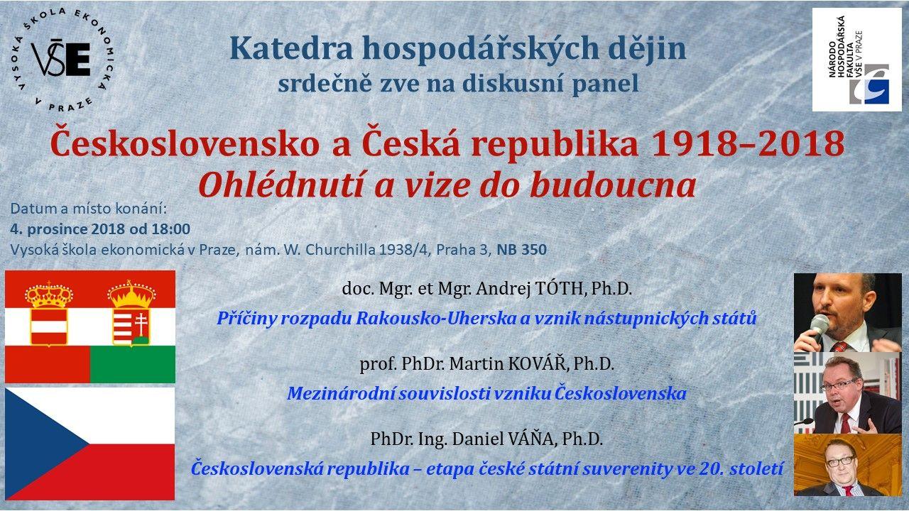 """""""Československo a Česká republika 1918-2018. Ohlédnutí a vize do budoucna"""", diskuzní panel KHD, dne 4.12.2018"""